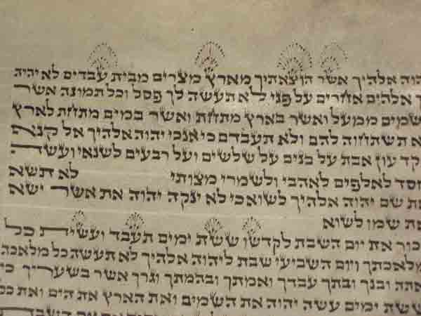 Here is a picture of the sefer torah in the video. Note the unusal configuration of taggim (crowns on the letters)
